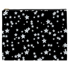 Black And White Starry Pattern Cosmetic Bag (xxxl)  by DanaeStudio