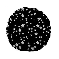 Black And White Starry Pattern Standard 15  Premium Round Cushions by DanaeStudio