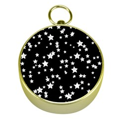Black And White Starry Pattern Gold Compasses by DanaeStudio