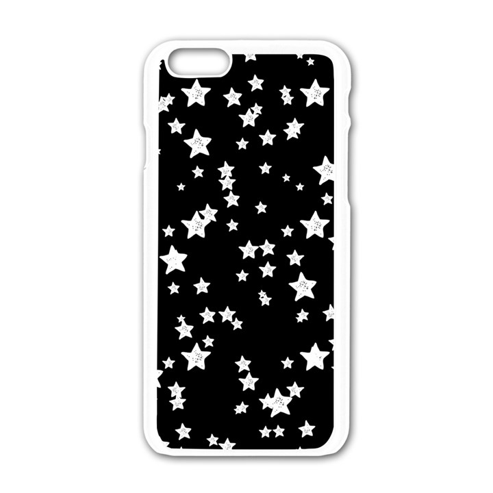 Black And White Starry Pattern Apple iPhone 6/6S White Enamel Case