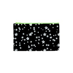 Black And White Starry Pattern Cosmetic Bag (xs) by DanaeStudio