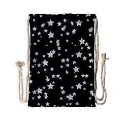 Black And White Starry Pattern Drawstring Bag (small) by DanaeStudio