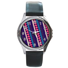 Purple And Pink Retro Geometric Pattern Round Metal Watch by DanaeStudio