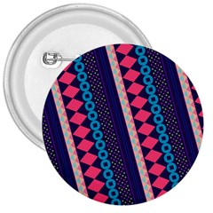 Purple And Pink Retro Geometric Pattern 3  Buttons by DanaeStudio