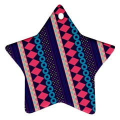 Purple And Pink Retro Geometric Pattern Ornament (star)  by DanaeStudio
