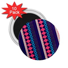 Purple And Pink Retro Geometric Pattern 2 25  Magnets (10 Pack)  by DanaeStudio
