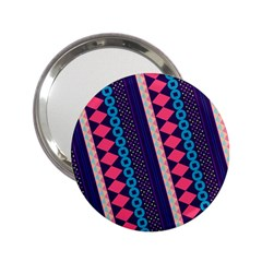 Purple And Pink Retro Geometric Pattern 2 25  Handbag Mirrors by DanaeStudio