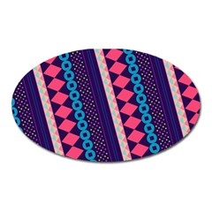 Purple And Pink Retro Geometric Pattern Oval Magnet by DanaeStudio