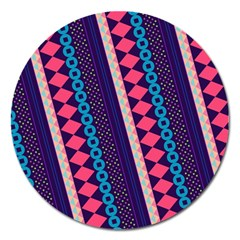 Purple And Pink Retro Geometric Pattern Magnet 5  (round) by DanaeStudio