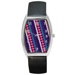 Purple And Pink Retro Geometric Pattern Barrel Style Metal Watch by DanaeStudio