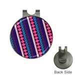 Purple And Pink Retro Geometric Pattern Hat Clips with Golf Markers Front
