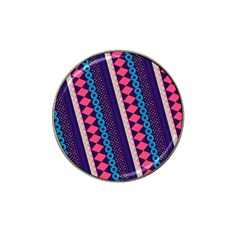 Purple And Pink Retro Geometric Pattern Hat Clip Ball Marker (4 Pack) by DanaeStudio