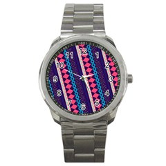 Purple And Pink Retro Geometric Pattern Sport Metal Watch by DanaeStudio