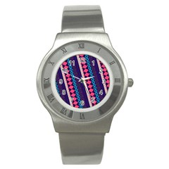 Purple And Pink Retro Geometric Pattern Stainless Steel Watch by DanaeStudio