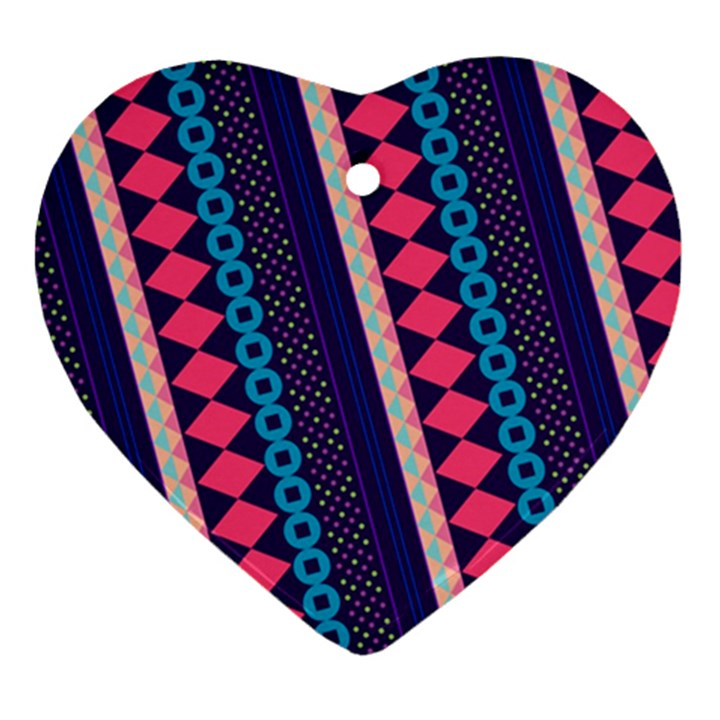 Purple And Pink Retro Geometric Pattern Heart Ornament (2 Sides)
