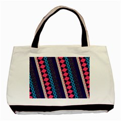 Purple And Pink Retro Geometric Pattern Basic Tote Bag (two Sides) by DanaeStudio