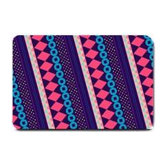 Purple And Pink Retro Geometric Pattern Small Doormat  by DanaeStudio