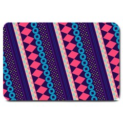 Purple And Pink Retro Geometric Pattern Large Doormat  by DanaeStudio