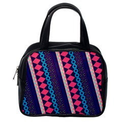 Purple And Pink Retro Geometric Pattern Classic Handbags (one Side) by DanaeStudio