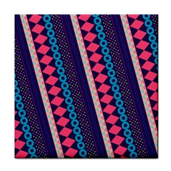 Purple And Pink Retro Geometric Pattern Face Towel by DanaeStudio