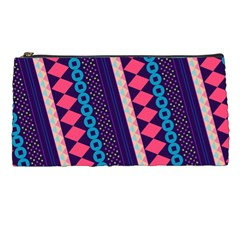 Purple And Pink Retro Geometric Pattern Pencil Cases by DanaeStudio