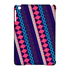 Purple And Pink Retro Geometric Pattern Apple Ipad Mini Hardshell Case (compatible With Smart Cover) by DanaeStudio