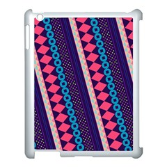 Purple And Pink Retro Geometric Pattern Apple Ipad 3/4 Case (white) by DanaeStudio