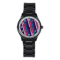 Purple And Pink Retro Geometric Pattern Stainless Steel Round Watch by DanaeStudio