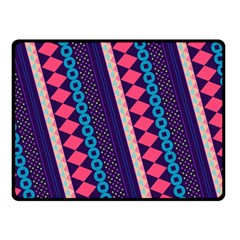 Purple And Pink Retro Geometric Pattern Double Sided Fleece Blanket (small)  by DanaeStudio