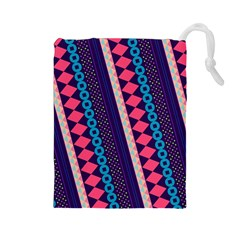 Purple And Pink Retro Geometric Pattern Drawstring Pouches (large)  by DanaeStudio