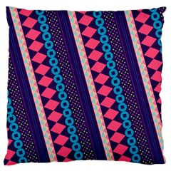 Purple And Pink Retro Geometric Pattern Large Flano Cushion Case (one Side) by DanaeStudio