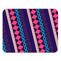 Purple And Pink Retro Geometric Pattern Double Sided Flano Blanket (large)  by DanaeStudio