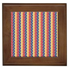 Colorful Chevron Retro Pattern Framed Tiles by DanaeStudio