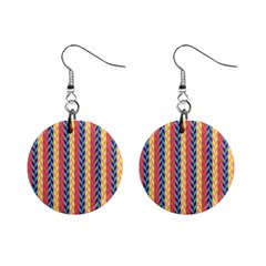 Colorful Chevron Retro Pattern Mini Button Earrings by DanaeStudio