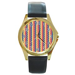 Colorful Chevron Retro Pattern Round Gold Metal Watch by DanaeStudio