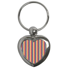 Colorful Chevron Retro Pattern Key Chains (heart)  by DanaeStudio