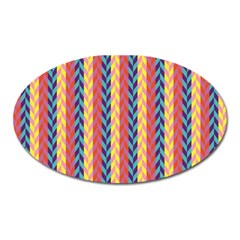 Colorful Chevron Retro Pattern Oval Magnet by DanaeStudio