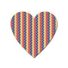 Colorful Chevron Retro Pattern Heart Magnet by DanaeStudio
