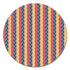 Colorful Chevron Retro Pattern Magnet 5  (round) by DanaeStudio