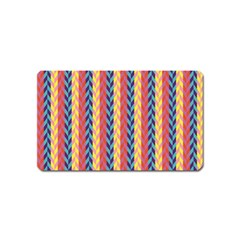 Colorful Chevron Retro Pattern Magnet (name Card) by DanaeStudio