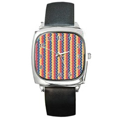 Colorful Chevron Retro Pattern Square Metal Watch by DanaeStudio