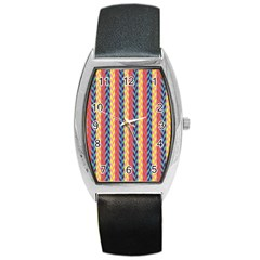 Colorful Chevron Retro Pattern Barrel Style Metal Watch by DanaeStudio