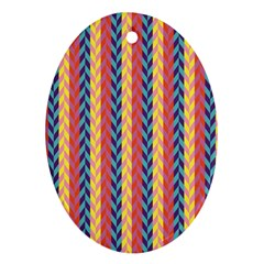 Colorful Chevron Retro Pattern Oval Ornament (two Sides) by DanaeStudio