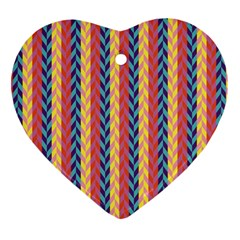 Colorful Chevron Retro Pattern Heart Ornament (2 Sides) by DanaeStudio