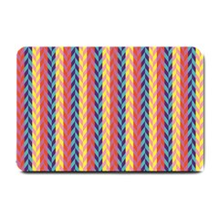Colorful Chevron Retro Pattern Small Doormat  by DanaeStudio
