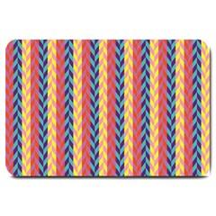 Colorful Chevron Retro Pattern Large Doormat  by DanaeStudio