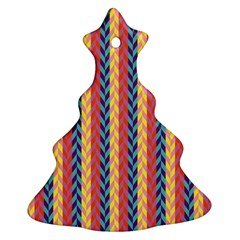 Colorful Chevron Retro Pattern Christmas Tree Ornament (2 Sides) by DanaeStudio