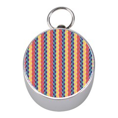 Colorful Chevron Retro Pattern Mini Silver Compasses by DanaeStudio