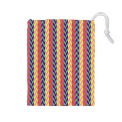 Colorful Chevron Retro Pattern Drawstring Pouches (large)  by DanaeStudio