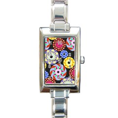 Colorful Retro Circular Pattern Rectangle Italian Charm Watch by DanaeStudio